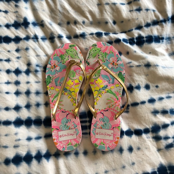 1e033aabbfe4 Lilly Pulitzer for Target Shoes - Lilly Pulitzer for Target floral gold flip  flops